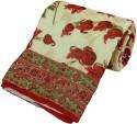 Little India Floral Handblock Cotton Single Bed Razai Quilt 104 Modern Ethnic Quilt - Single