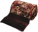 Little India Ethnic Floral Maroon Double Bed Velvet Quilt Modern Ethnic Quilt - Double