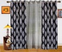Dekor World Damask Design And Sheer Combo Door Curtain