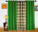Dekor World Damask Design And Plain Combo Design Window Curtain
