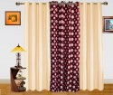 Dekor World Polka Dots And Plain Combo Design Window Curtain