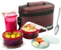 Bluplast Meal Time Plastic Lunch Boxes - Set Of 6, Brown