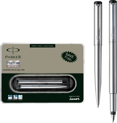 Buy Parker Vector Stainless Steel CT(FP) Pen Set: Pen