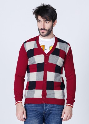Van Heusen Checkered V-neck Casual Men's Sweater