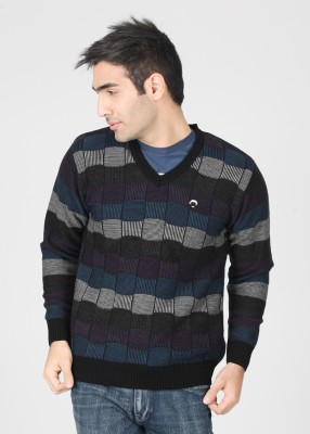 Lawman Checkered V-neck Casual Men's Sweater