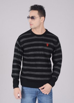 Manchester United Striped Round Neck Men's Sweater