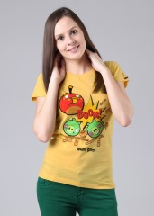 Compare Angry Birds Round Neck Printed Women T-shirt at Compare Hatke