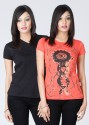 Style Quotient by Noi Printed Women's Round Neck T-Shirt - Pack of 2